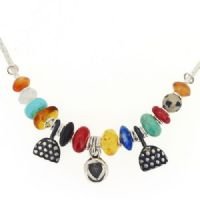 Heart necklace, lapis, carnelian, turquoise and amber beads no.2